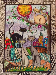 Cute cat art, pencil or marker - very colorful, completely filled - background, border, everything