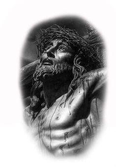 Lovely yet so serious and sad God Tattoos, Body Art Tattoos, Sleeve Tattoos, Christ Tattoo, Jesus Tattoo, Grey Tattoo, Black Tattoos, Religion Tattoos, Jesus Drawings