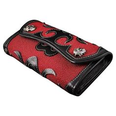 GOTHIC CROSS GENUINE STINGRAY SKIN LEATHER ROCKER PUNK BIKER MOTORCYCLE WALLET