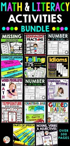 This resource is HUGE! It includes over 300 pages of worksheets and activities that are perfect to teach a variety of concepts. Included in this resource: missing addends, fractions, number of the day, telling time, math problems, temperature, figurative language, idioms, opinion writing, guided reading, parts of speech and MORE! Math Literacy, Literacy Activities, Math Word Problems, Opinion Writing, Parts Of Speech, Figurative Language, Teaching French, Telling Time, Math Worksheets