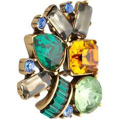 Oscar de la Renta Gold-plated crystal clip earrings ($222) ❤ liked on Polyvore
