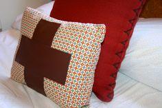 {Super easy} DIY leather appliqué pillow.