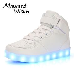 Good Fashion Good Children LED Glowing Luminous Sneakers With Light Up Shoes for Kids Boys Girls Baskets LED Slippers 30 #Affiliate