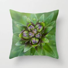 Lily Throw Pillow Cover, Floral Bud Print Chair Cushion Case, Spring Home Decor, Master Bedroom Bed Accent, Botanical Art Decor, Green, Plum