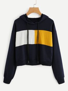To find out about the Contrast Panel Crop Hoodie at SHEIN, part of our latest Sweatshirts ready to shop online today! Sweat Shirt, Ellesse, Cheap Hoodies, Hoodie Outfit, T Shirt Yarn, Cut Shirts, Cropped Hoodie, Long Sleeve Sweater, Hooded Sweatshirts