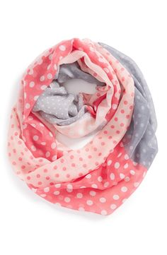 Such a cute coral and grey polka dot infinity scarf.