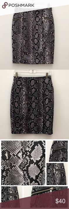 """Michael Kors Skirt Size 2P Michael Kors snake print skirt size 2 petite. Colors are black, gray, white. Front is accented w/2 faux pockets w/zippers. Side closure is eye & hook along w/hidden black zipper that measures about 6"""". Two slits on the back side. Black lining. Shell 95% Polyester & 5% Spandex. Approximate measurements: Waist = 26"""" Length = 20.5"""" (from top front center to bottom)  Great condition. Can share more photos. Open to offers. Thank you. Michael Kors Skirts"""