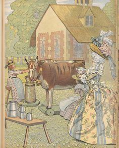 An illustration of Marie Antoinette's hamlet from Jouons à l'histoire, 1908. [source: Bibliothèque nationale de France ]