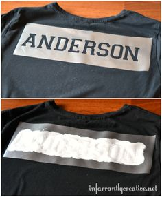 "using the Varsity font I cut out ""Anderson"" on the vinyl and transferred the negative to the shirt.  Then I used the Simply Stencil white paint to silk screen the last name on the back. let it dry for several hours and then ironed it with a press cloth to set the ink"