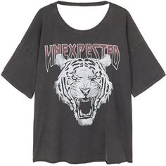 Tiger Print T-Shirt ($23) ❤ liked on Polyvore featuring tops, t-shirts, short sleeve tee, short sleeve t shirt, open-back tops, animal print t shirts and animal print tees