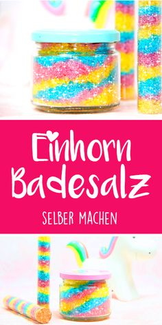 Unicorn bath salts with glitter - dieHexenküche. Cardboard Tubes, Image Notes, Bath Salts, Flower Tattoos, Pin Collection, Diy Beauty, At Home Workouts, Sprinkles, Presents