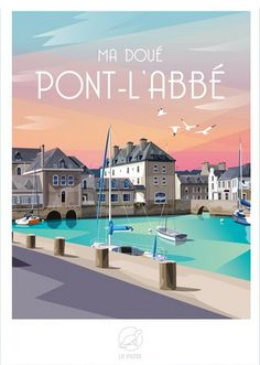 Travel Posters, Brittany, Vintage Posters, France, Mansions, Deco, House Styles, Drawings, Places