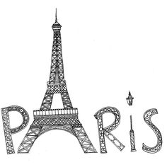 Paris anti stress doodle colouring page for adults