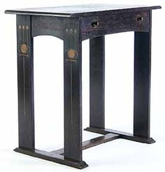 Gustav Stickley & Harvey Ellis, Library Table. Oak with Pewter, Brass, Copper and Fruitwood Inlays. Circa 1903.