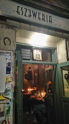 Outside Eszeweria-a very atmosheric pub in Kazimierz, the Jewish district. Krakow 2016