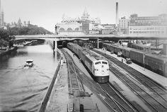 E-8 1800 No.10 Sudbury-Montreal local train connecting at Sudbury with Vancouver-Toronto No. 6.  Ottawa Union Station Saturday, August 1958.