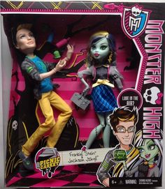 Amazon.com: Monster High Picnic Casket 2 Pack - Jackson Jekyll and Frankie Stein: Toys & Games