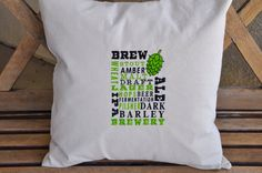 EMBROIDERED BEER SUBWAY Art Envelope Closure Canvas Pillow Cover - Bar, Beer, Man Cave, She Cave, Bar Decor by SewCuteThreads on Etsy