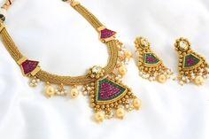 Gold Kundan Polki Necklace Set - AristaBeads Jewelry - 2