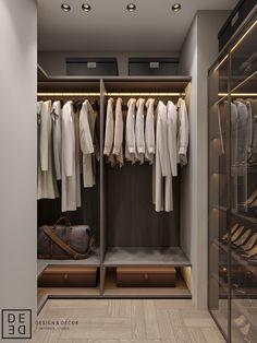 DE&DE/Gorgeous minimalism with wooden accents on Behance Walk In Closet Design, Bedroom Closet Design, Bathroom Interior Design, Latest Kitchen Trends, Townhouse Interior, Wooden Wall Panels, Four Rooms, Walk In Wardrobe, Japanese Interior