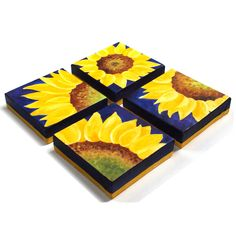 Home and Office Decor, 4 SUNFLOWERS on blue, Four acrylic canvas paintings, abstract art. by nJoy Art , via Etsy. Acrylic Canvas, Canvas Art, Mini Canvas, Starfish Painting, Sunflower Art, Sunflower Paintings, Sunflower Kitchen, Alcohol Ink Crafts, Tile Crafts