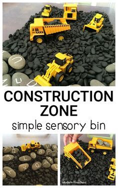 Simple Construction Zone Sensory Bin Simple Construction Zone Sensory Bin,Preschool Sensory Play Love the letter rocks. Construction zone simple sensory bin – perfect for toddlers and preschoolers who Related posts:Farm Sensory Play Activity for. Preschool Classroom, Preschool Learning, In Kindergarten, Preschool Crafts, Learning Activities, Teaching, Preschool Curriculum, Preschool Themes, Preschool Rooms