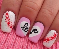 So why not dress up your nails with cute nail art too? Here are some easy-to-do nail art ideas for Valentine's Day. Get Nails, Love Nails, Pretty Nails, Hair And Nails, Pink Nails, White Nails, Simple Nail Art Designs, Nail Designs, Valentine Nail Art
