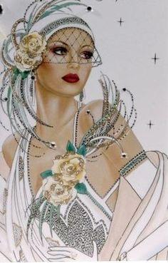 Ideas For Fashion Ilustration Art Deco Art Vintage, Vintage Ladies, Vintage Paintings, Art Deco Paintings, Vintage Woman, Art Nouveau, Pop Art, Art Deco Cards, Bijoux Art Deco