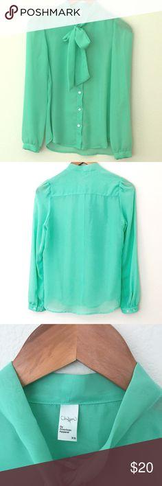 """American Apparel Mint Secretary Blouse Beautiful sea foam color, sheer chiffon, 23"""" long. American Apparel Tops"""