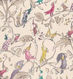 Zagazoo Cockatoos Beige, Pink and Purple - W6060/03 Wallpaper