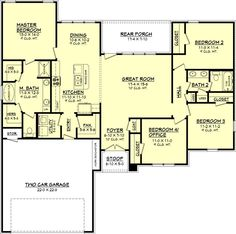 This wonderful plan has so many features for only 1725 square feet of heated and cooled space. This plan offers four bedrooms, one of which could be used...
