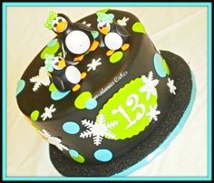 Prissy Penguin Birthday White velvet cake and vanilla/almond bnuttercream. The Pengiuns are gumpaste. 1st Birthday Party Themes, Birthday Fun, Birthday Stuff, Birthday Cakes, Birthday Ideas, Penguin Birthday, Penguin Party, White Velvet Cakes, Penguin Cakes