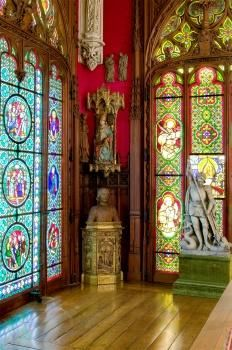 """Photograph looking toward the southeast corner of the Gothic room, inside the Vanderbilt's - Marble House, in Newport, RI. Taken during the 2010, """"Gothic Art in the Gilded Age"""" exhibition. ~ {cwl} ~~ (Photo by: Ira Kerns)."""