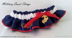 An MST Exclusive design! A truly beautiful garter! Keepsake is made with 2 layers of dbl faced satin in navy blue and a red pin stripe to