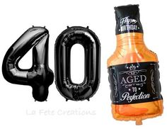 Whiskey Bottle Balloon Numbers Balloons Birthday Balloon Whiskey Bottle Balloon Aged to Perfection Happy Birthday Balloon Birthday Balloon Shop, The Balloon, Number Balloons, Mylar Balloons, 40th Birthday Messages, Create A Person, Popular Birthdays, Happy Birthday Balloons, Aged To Perfection