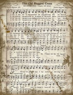 The Old Rugged Cross Sheet Music Christian Hymn by VrVGraphics