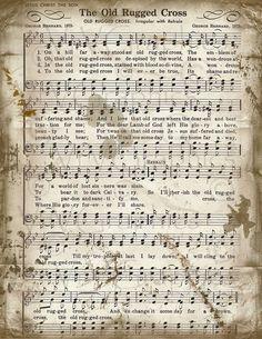 The Old Rugged Cross Sheet Music Christian Hymn by VrVGraphics Church Songs, Church Music, Vintage Sheet Music, Piano Sheet Music, Music Sheets, Gospel Music, Music Lyrics, Gospel Lyrics, Free Piano Sheets