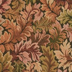 Burgundy Brown and Green Foliage Leaf Tapestry Upholstery Fabric