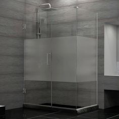 Buy the DreamLine Brushed Nickel Direct. Shop for the DreamLine Brushed Nickel Unidoor Plus 45 in. W x 30 in. D x 72 in. H Hinged Shower Enclosure, Half Frosted Glass Door, Satin Black Hardware Finish and save. Corner Shower Enclosures, Frameless Shower Enclosures, Frameless Shower Doors, Glass Shower Doors, Frosted Shower Doors, Glass Design, Door Design, Tile Design, Modern Bathroom