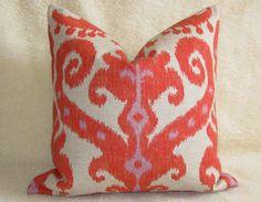 Ikat Designer Pillow  Firecracker  Coral  Orange  by WillaSkyeHome, $37.00