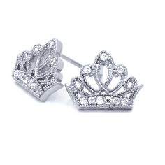 Valentine's Day Gift, 14K White Gold Plated Sterling Silver Crown CZ Stud Screw Back Earrings For Children & Women Double Accent. Save 65 Off!. $17.99. Nickel Free. Hypoallergenic Earring.. Screw Back Earring. 925 Sterling Silver. Prompt Shpping. Comes with Beautiful Jewelry Case