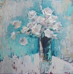White Roses Palette Knife acrylic painting Painting