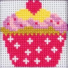 Canevas point de croix pour enfant - motif cupcake Kit complet comprenant la toile, l'aiguille et les fils