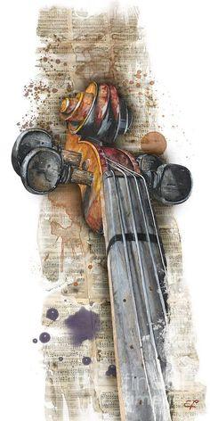 Violin 01 Elena Yakubovich Painting by Elena Yakubovich