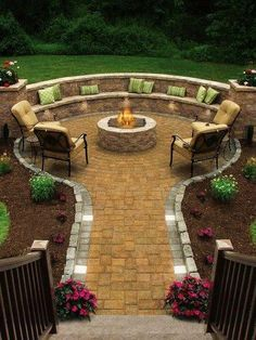 My dream is to have an outdoor fire pit with built in seating in my backyard. This one looks amazing! My dream is to have an outdoor fire pit with built in seating in my backyard. This one looks amazing! Outside Living, Outdoor Living, Outdoor Life, Fire Pit Backyard, Backyard Seating, Outdoor Seating, Backyard Pavers, Outdoor Pool, Cozy Backyard