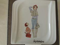 """""""peinture porcelaine mois"""" Voici les quatre dernières assiettes du service: septembre, octobre, novembre et décembre."""