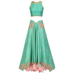 Jade green floral embroidered flap lehenga and cutwork blouse set... ($1,590) ❤ liked on Polyvore featuring tops, blouses, green blouse, jade blouse, flap top, green top and jade green top