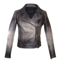 Hand Crafted Leather Croco Ombre Print Motorcycle Biker Women Jacket... ($115) ❤ liked on Polyvore featuring outerwear, jackets, black, women's clothing, lined leather jacket, motorcycle jacket, black jacket, moto jacket and leather biker jacket