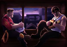 Someone Else's Song by Lintufriikki.deviantart.com #TF2 Soldier and Engineer.