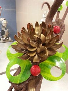 Chocolate Flower~~piece by piece stick on the base..